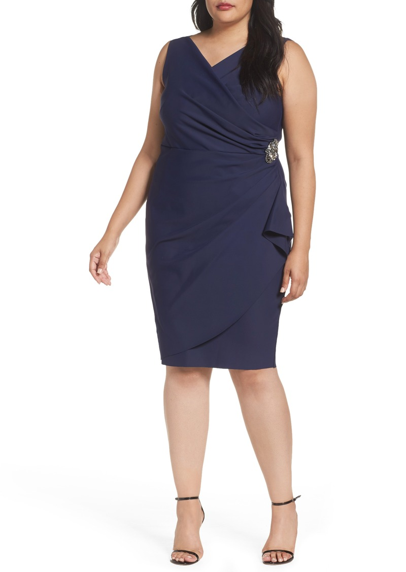 Alex Evenings Embellished Surplice Sheath Dress (Plus Size)