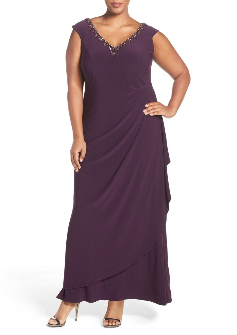 Alex Evenings Embellished V-Neck Side Drape Jersey Gown (Plus Size)