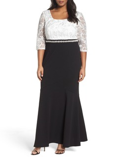 Alex Evenings Embellished Waist Colorblock Gown (Plus Size)