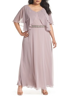 Alex Evenings Embellished Waist Flutter Dress (Plus Size)