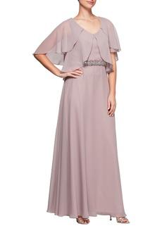 Alex Evenings Embellished Waist Flutter Sleeve Chiffon Gown