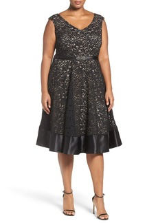 Alex Evenings Embellished Waist Lace Party Dress (Plus Size)