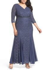 Alex Evenings Embellished Waist Sequin Lace Dress (Plus Size)