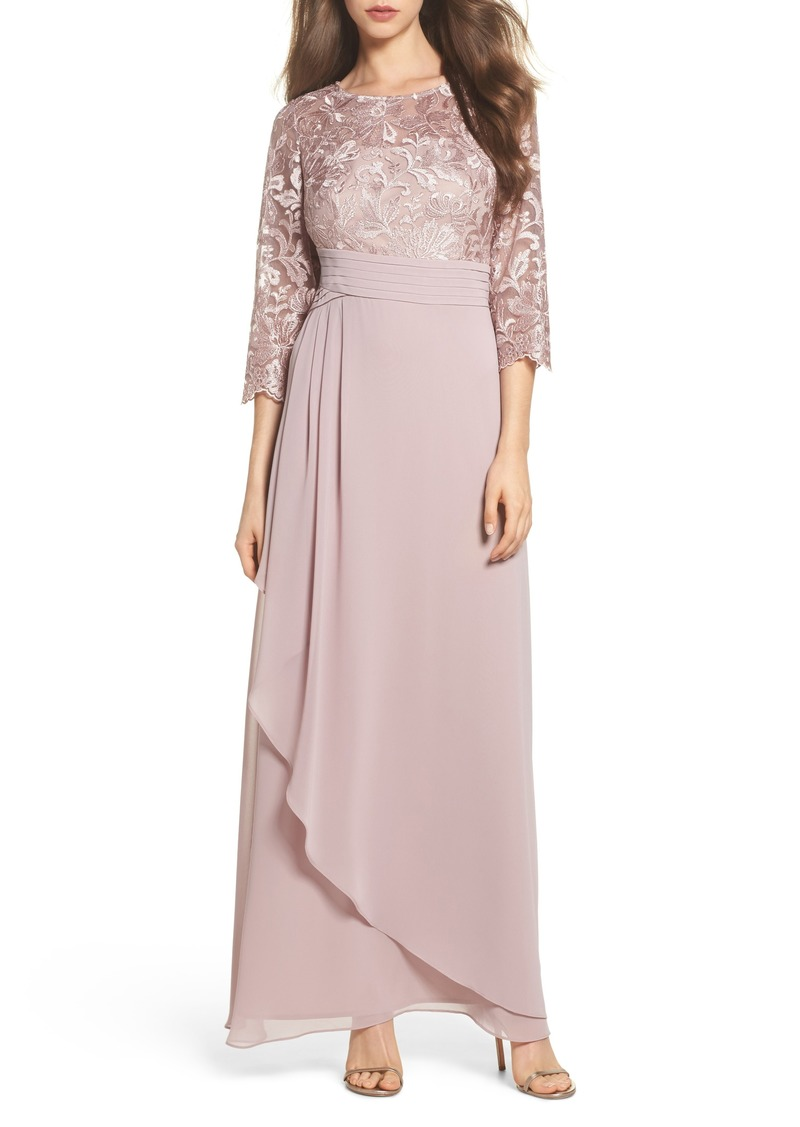 Alex Evenings Embroidered A-Line Gown (Petite)