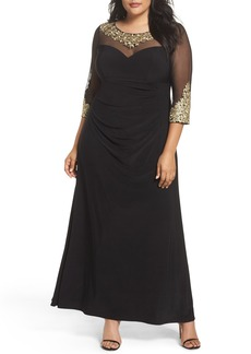 Alex Evenings Embroidered A-Line Gown (Plus Size)