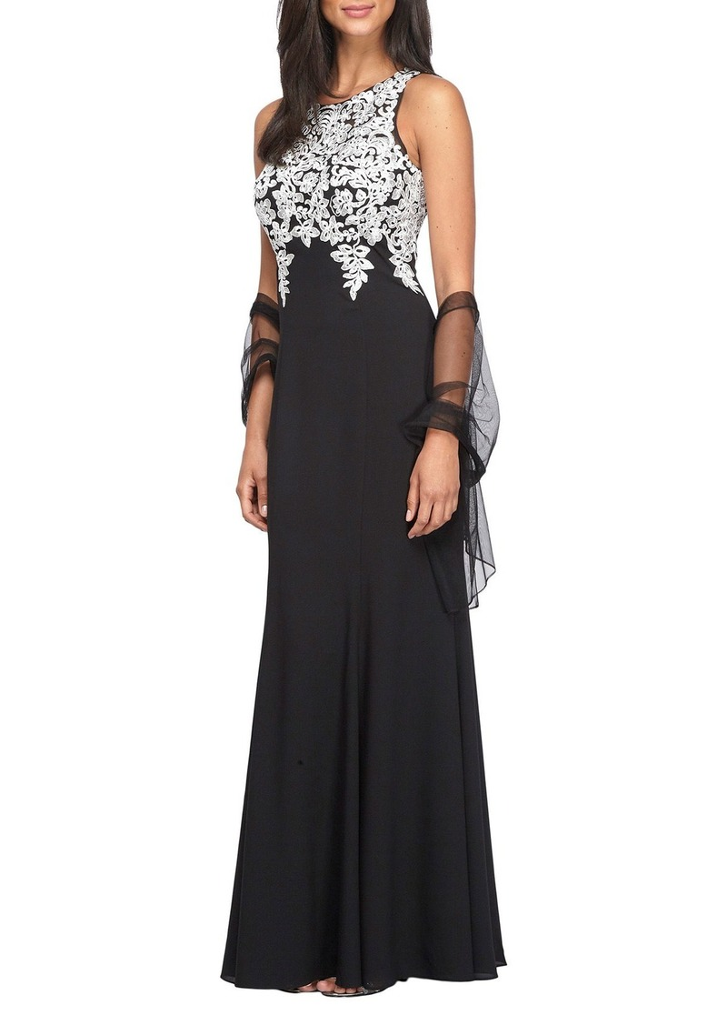 Alex Evenings Embroidered A-Line Gown with Chiffon Shawl (Regular & Petite)