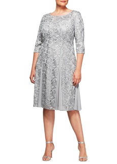 Alex Evenings Embroidered A-Line Midi Dress (Plus Size)