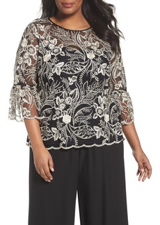 Alex Evenings Embroidered Bell Sleeve Blouse (Plus Size)