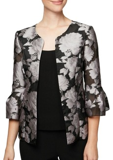 Alex Evenings Embroidered Bell-Sleeve Jacket and Solid Tank Twinset