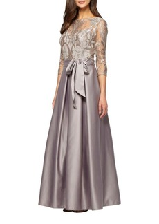 Alex Evenings Embroidered Bodice Floor-Length Ball Gown