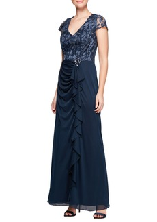 Alex Evenings Embroidered Bodice Gown (Regular & Petite)