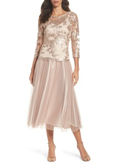 Alex Evenings Embroidered Bodice Tea-Length Dress