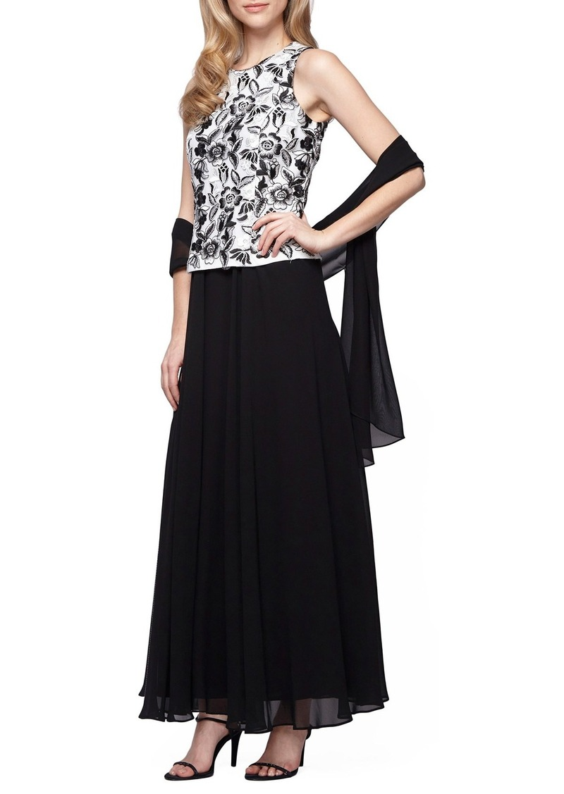 Alex Evenings Embroidered Chiffon Gown & Shawl (Regular & Petite)