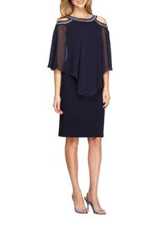 Alex Evenings Embroidered Cold-Shoulder Dress