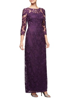 Alex Evenings Embroidered Column Gown (Regular & Petite)