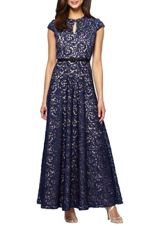 Alex Evenings Embroidered Gown (Regular & Petite)