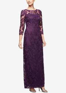 Alex Evenings Embroidered Illusion Column Gown