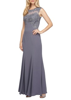 Alex Evenings Embroidered Illusion Fit & Flare Gown (Regular & Petite)