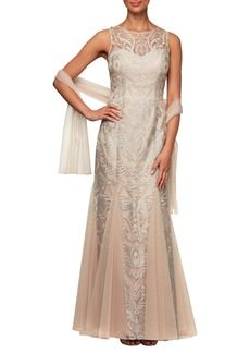 Alex Evenings Embroidered Illusion Mesh Evening Dress with Wrap (Regular & Petite)