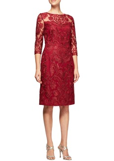 Alex Evenings Embroidered Illusion Shift Dress