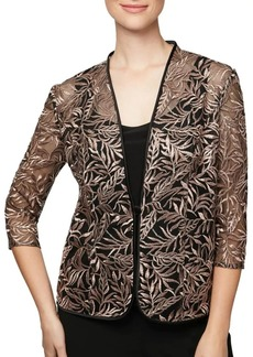 Alex Evenings Embroidered Jacket and Solid Tank Twinset