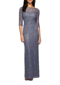 Alex Evenings Embroidered Lace Column Dress