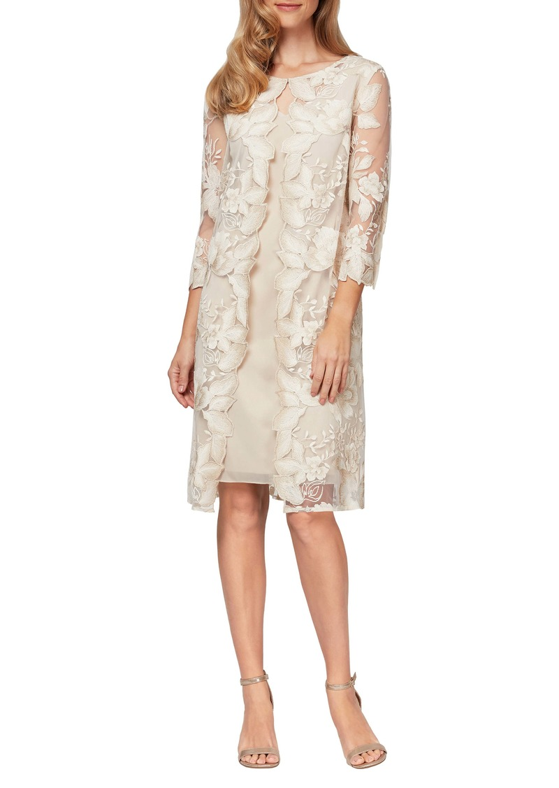 Alex Evenings Embroidered Lace Mock Jacket Cocktail Dress