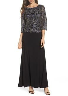 Alex Evenings Embroidered Lace Mock Two-Piece Dress (Regular & Petite)