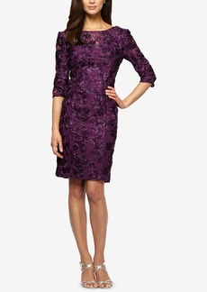 Alex Evenings Embroidered Lace Sequined Sheath Dress