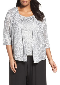 Alex Evenings Embroidered Lace Twinset (Plus Size)