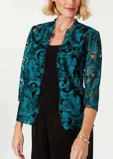 Alex Evenings Embroidered Mesh Jacket & Top Set