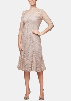 Alex Evenings Embroidered Midi Fit & Flare Dress
