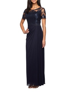 ALEX EVENINGS Embroidered Ruched Gown