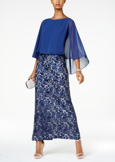 Alex Evenings Embroidered-Skirt Cape Gown
