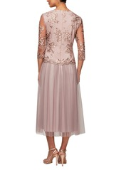 Alex Evenings Embroidered Tea Length Cocktail Dress (Regular & Petite)