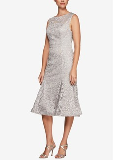 Alex Evenings Embroidered Tulle Midi Dress