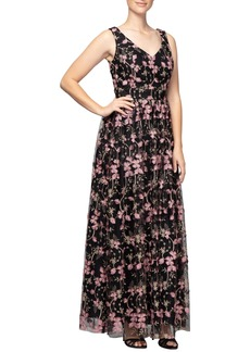 Alex Evenings Embroidered V-Neck Gown