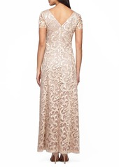 Alex Evenings Embroidered Woven Gown (Regular & Petite)
