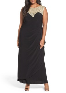 Alex Evenings Embroidered Yoke Side Ruched Long Dress (Plus Size)