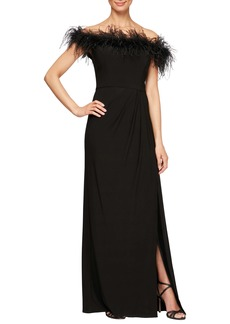 Alex Evenings Feather Trimmed Off the Shoulder Gown