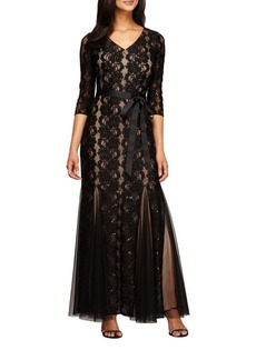 Alex Evenings Fit and Flare Lace Gown