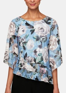 Alex Evenings Floral Asymmetrical Tiered Blouse