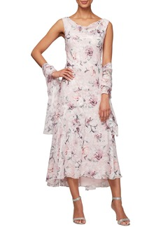 Alex Evenings Floral Burnout High/Low Chiffon Dress with Wrap