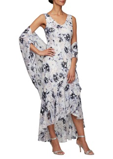 Alex Evenings Floral Burnout High/Low Chiffon Evening Dress with Wrap (Regular & Petite)