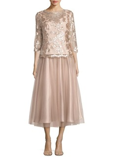 Alex Evenings Floral-Embroidered A-Line Dress