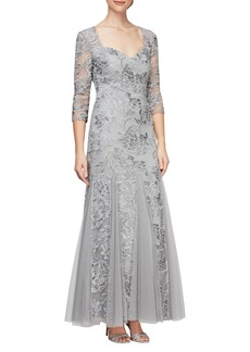 Alex Evenings Floral Embroidered Gown