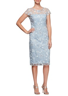 Alex Evenings Floral Embroidered Shift Dress (Regular & Petite)