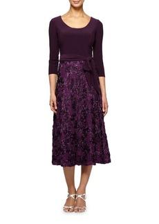 Alex Evenings Floral Embroidered Skirt Tea-Length A-Line Dress