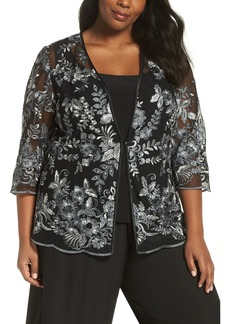 Alex Evenings Floral Embroidered Twinset (Plus Size)