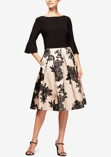 Alex Evenings Floral-Print & Solid Bell-Sleeve Dress